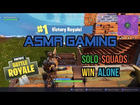ASMR Gaming | Fortnite My 1st Solo Squads Victory Alone (23rd Win) ★Controller Sounds + Whispering☆