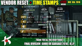 140 weeks of Division vendor resets... It had to end sometime. Thanks guys!