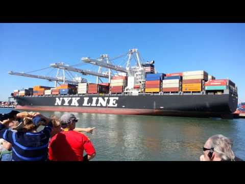 Ferry Ride View. Container ship x 2. USS Potomac. Port of Oakland, CA. Friday Oct 9, 2015
