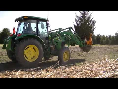 John Deere Front Loader Tree Spade Digging a big tree and re
