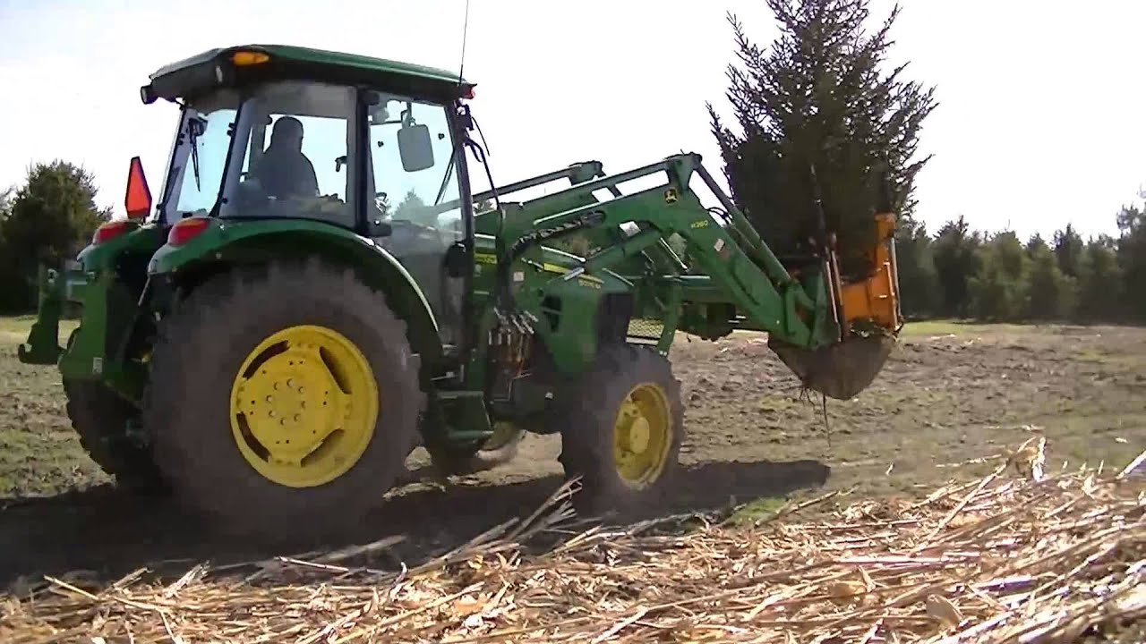 John Deere Front Loader Tree Spade Digging a big tree and re-planting it
