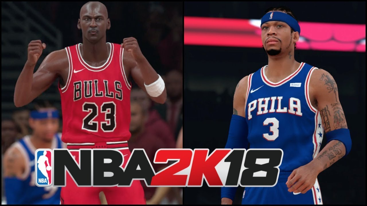 NBA 2K18 Gameplay | All Time Bulls vs All Time 76ers (Iverson/Jordan/Dr.  J./Pippen & More!)
