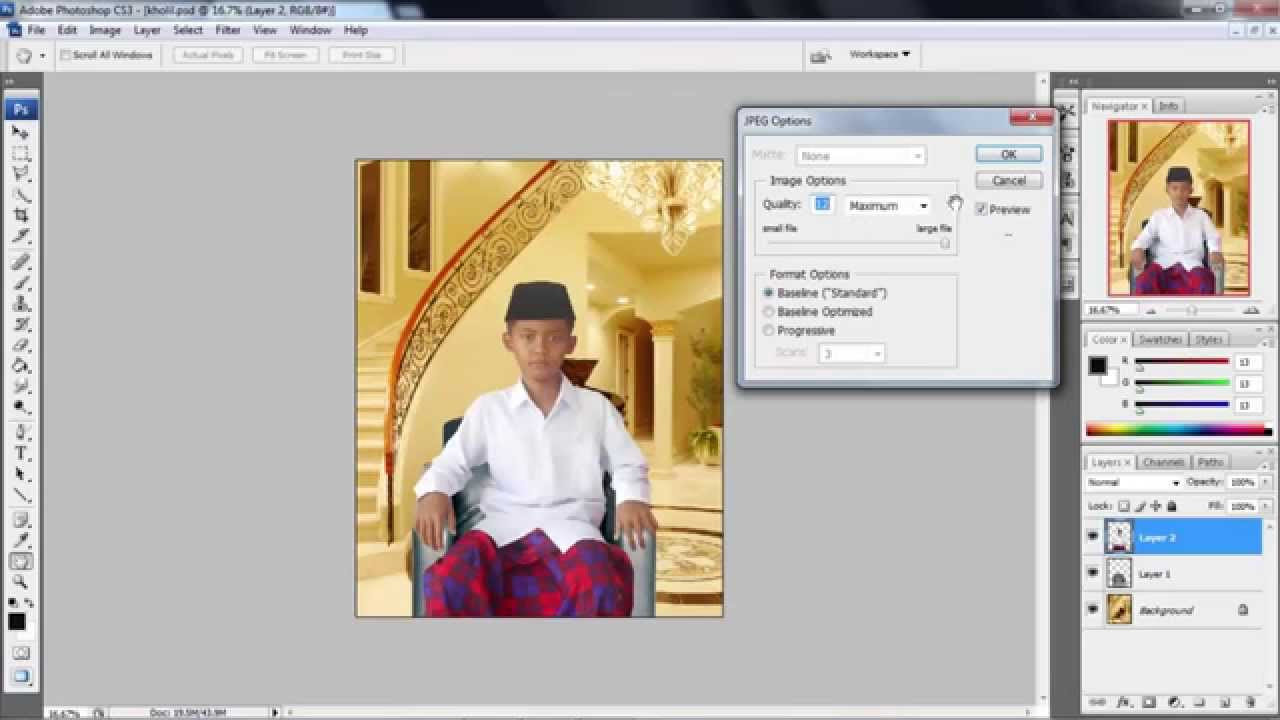 Photoshop Tutorial Cara Simpan Gambar Dengan Format Jpg Psd Gif Youtube