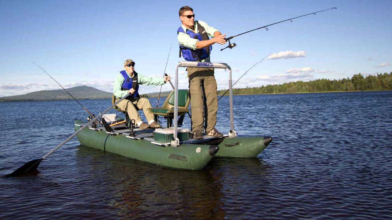 Inflatable pontoon fishing boat 2 extraordinary models for Two man fishing boat
