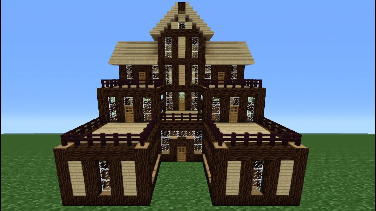 Minecraft tutorial how to make a wooden house 6 youtube for How to build a house step by step instructions