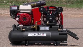 NorthStar(R) Gas-Powered Air Compressor - Honda GX160 OHV Engine, 8-Gallon Twin Tank, 13.7 CFM @ 90