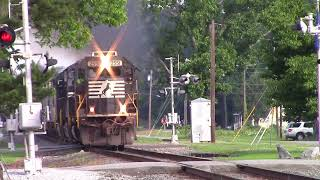 NS SD70 Standard Cab with Great Quill Action K5LA and smokes it up leads C44-9W/AC446M on NS E49