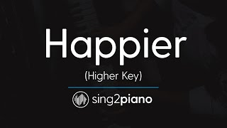 Video Happier (Higher Piano Karaoke Instrumental) Ed Sheeran download MP3, 3GP, MP4, WEBM, AVI, FLV Januari 2018