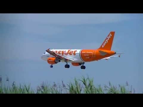 """Atterraggio A320 EasyJet livrea """"Linate-Fiumicino"""" a Pisa (HD)"""