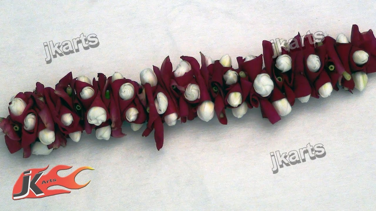 Diy gajra veni flower garland for indian wedding how to make diy gajra veni flower garland for indian wedding how to make jk arts 176 youtube izmirmasajfo