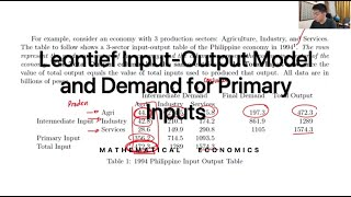 Leontief Input-Output Model and Demand for Primary Inputs