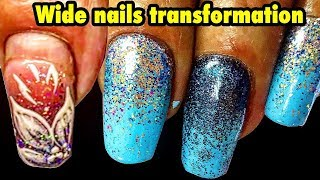 WIDE NAILS TRANSFORMATION  | NAILS EXTENSION AND BEAUTIFUL NAIL ART ON BULKY NAILS 2018