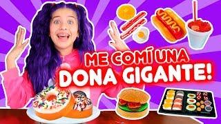 GOMITA GIGANTE vs COMIDA REAL!! comi una DONA GIGANTE🍩| leyla Star 💫