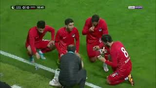 Players break their fast for Ramadan during a game in Turkey