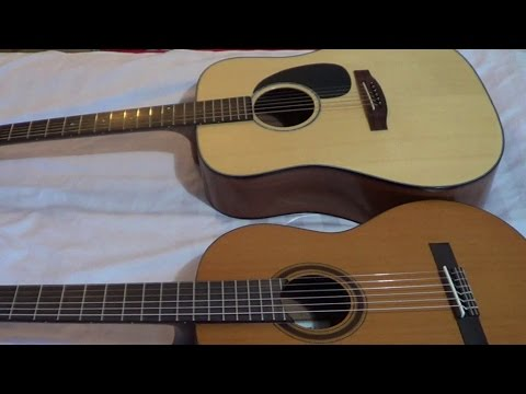 acoustic guitar comparison acoustic steel string guitar vs classical nylon string guitar youtube. Black Bedroom Furniture Sets. Home Design Ideas
