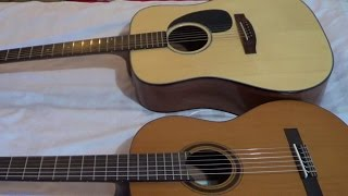 Acoustic Guitar Comparison: Acoustic Steel String Guitar vs Classical Nylon String Guitar