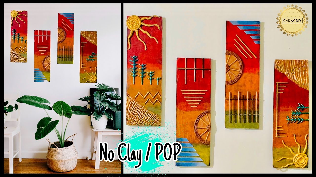 4 Framed Embossed Wall Decor Idea| No Clay or POP|gadac diy|Room Decorating Ideas| DIY Home Decor