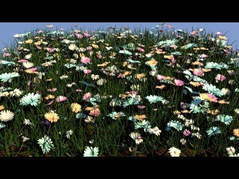 çiçek bahçesi (particles + low poly model + transparent texture)