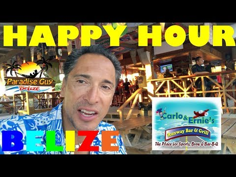Friday Happy Hour at Runway Bar and Grill on Ambergris Caye, Belize
