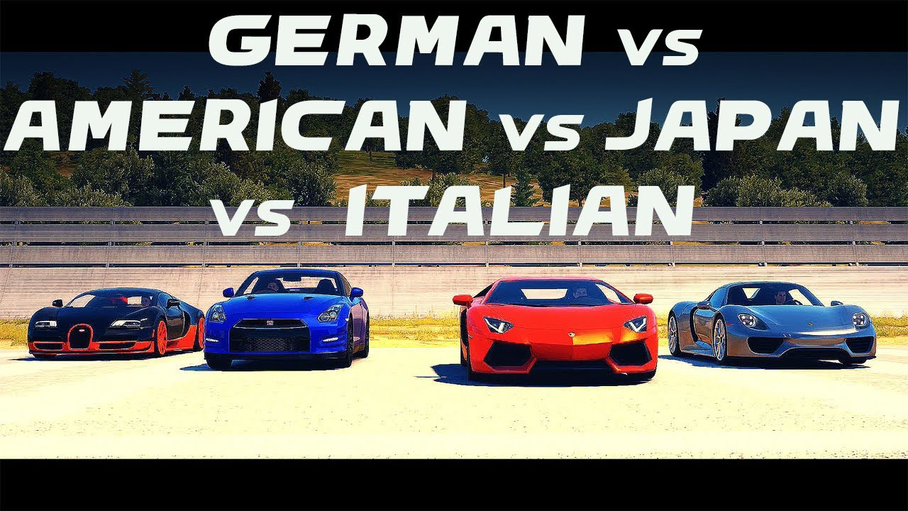 german vs american vs japan vs italian cars launch control rev drift reaction sound youtube. Black Bedroom Furniture Sets. Home Design Ideas