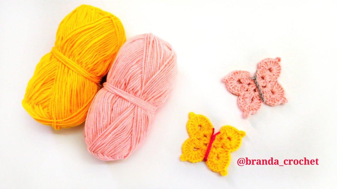 كروشيه فراشه بسيطه ورقيقه crochet butterfly 🦋