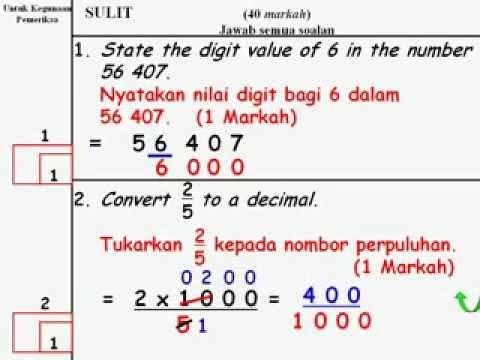 Matematik Upsr Contoh Soalan Upsr Youtube