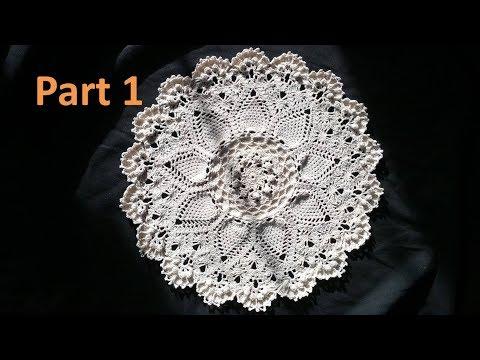 Advanced Pineapple Cluster Stitch Doily Crochet Tutorial -Part 1