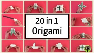20 in 1 Origami  (20 Origami models from one paper) - Tutorial from Paper Folds