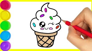 Ice cream 🍦 || How to draw ice cream easy drawing for beginners to step by step colouring drawing.