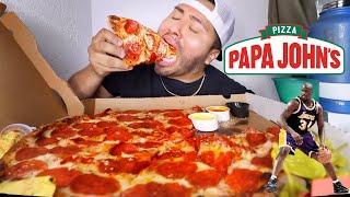 PAPA JOHNS SHAQ-A-RONI PIZZA MUKBANG | EATING SHOW