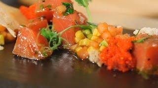 Севиче из тунца с тартаром из авокадо и томатов конкассе. Рецепт от шеф-повара.