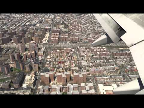 Approach and landing at Laguardia airport NYC