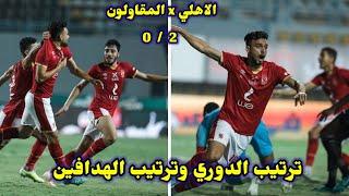 ترتيب الدوري المصري وترتيب الهدافين بعد فوز الاهلي علي المقاولون 0/2💥