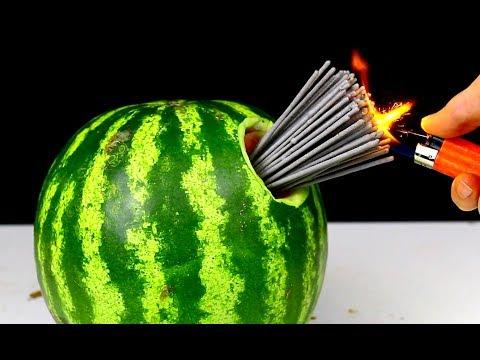 WOW 10 Firecracker Tricks 100 FIRECRACKERS vs WATERMELON