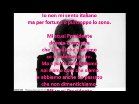 Gaber Giorgio Io non mi sento italiano [karaoke] - YouTube