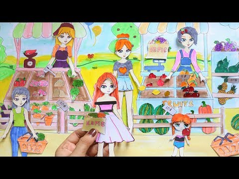 PAPER DOLLS SHOPPING WITH FARMERS MARKET FOOD - PAPER DOLLS SELLING FRUITS & VEGETABLES
