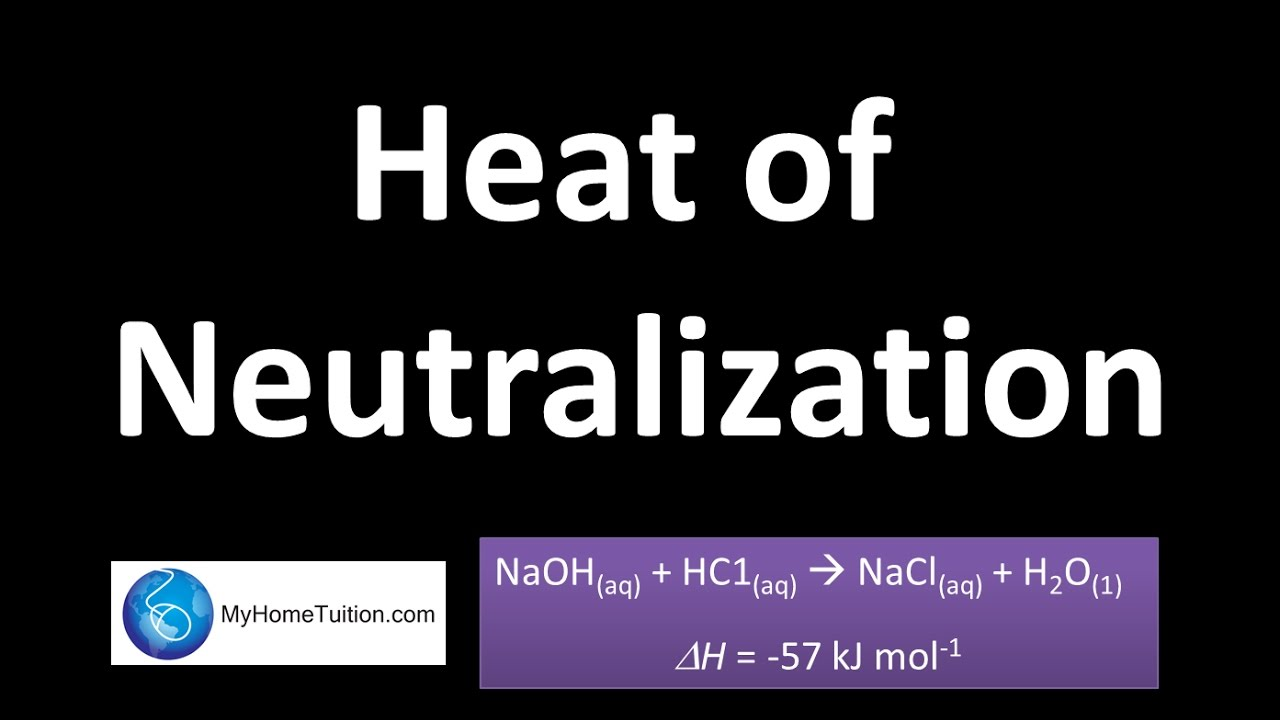 heat of neutralization Theory: the enthalpy exchanged during a reaction is allowed to increase the temperature of a quantity of water or the temperature of the mixture itself is followed.