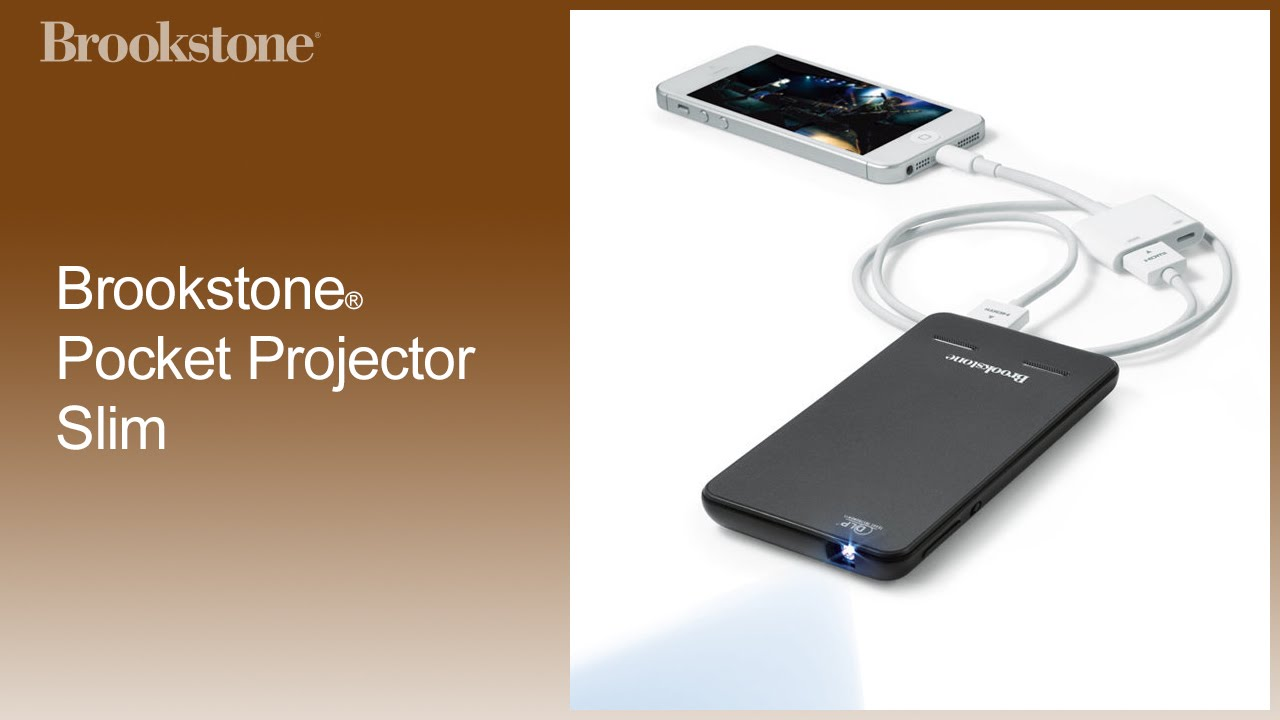 Brookstone pocket projector slim how to use youtube for Where to buy pocket projector