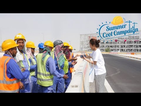 Giving thanks to Qatar's workers with the Summer Cool Campaign!