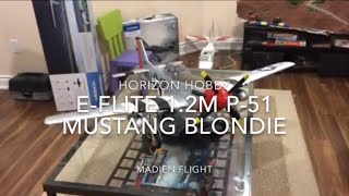 maiden of the e flite 1 2m bnf basic p 51 mustang blondie