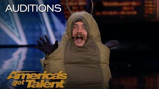 Sethward: Comedian Caterpillar Flashes Judges - America's Got Talent 2018
