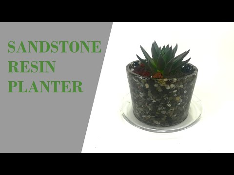 Planter from expoxy resin and sand stones