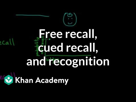 Retrieval: Free recall, cued recall, and recognition | MCAT | Khan Academy