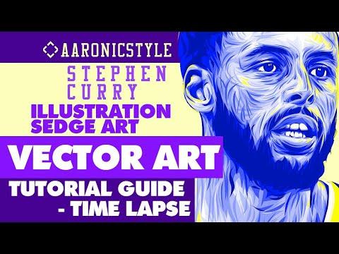 STEPHEN CURRY - Photoshop Vector Tutorial (Sedge Art Illustration) &Timelapse