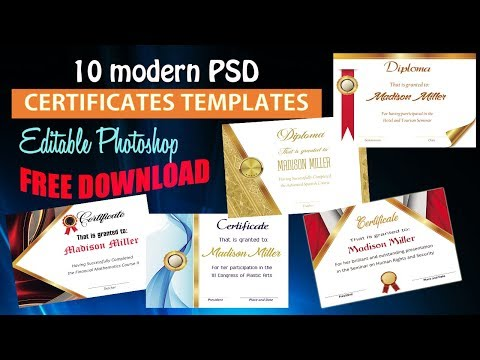 Free Download 10 Editable PSD Certificates + Special Fonts