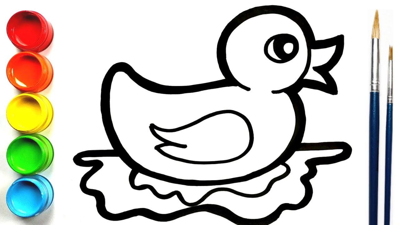 Cara Menggambar dan Mewarnai Anak Bebek untuk Anak-anak ...