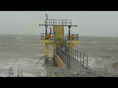 Idiots Swimming In Salthill, Galway During Storm Desmond HD