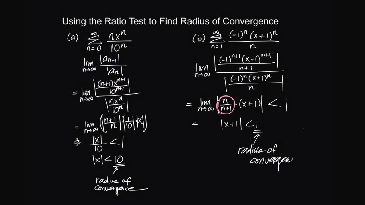 Using the Ratio Test to Find Radius of Convergence