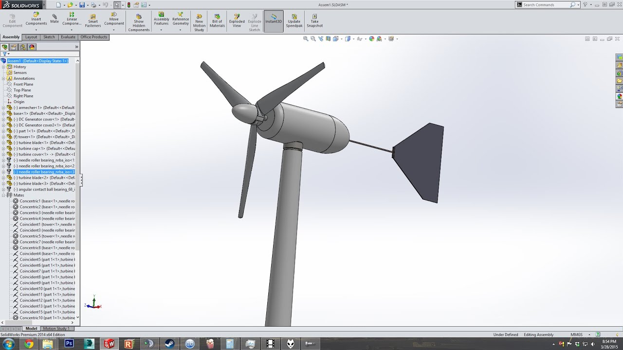 Small Wind Turbine Modeling in SolidWorks