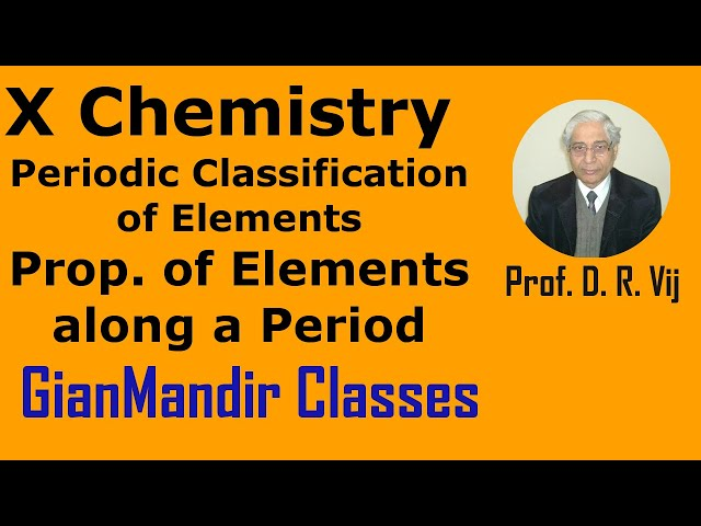 X Chemistry | Periodic Classification of Elements | Prop. of Elements along a Period by Gaurav Sir